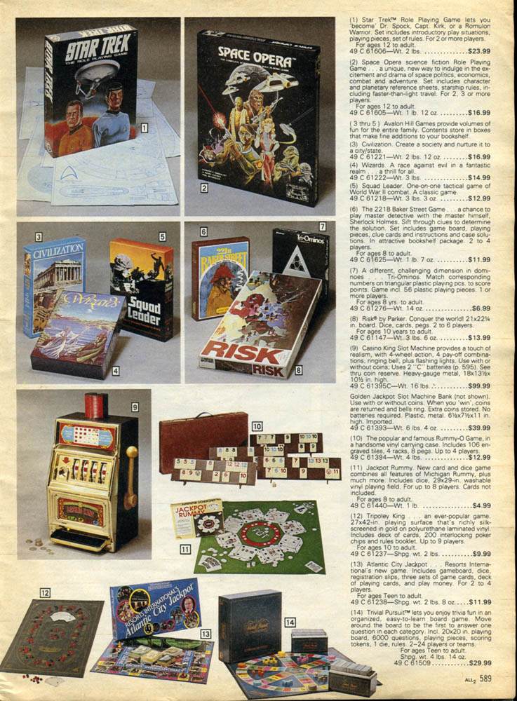 1980's Christmas Catalog Pages: Games, Games, Games