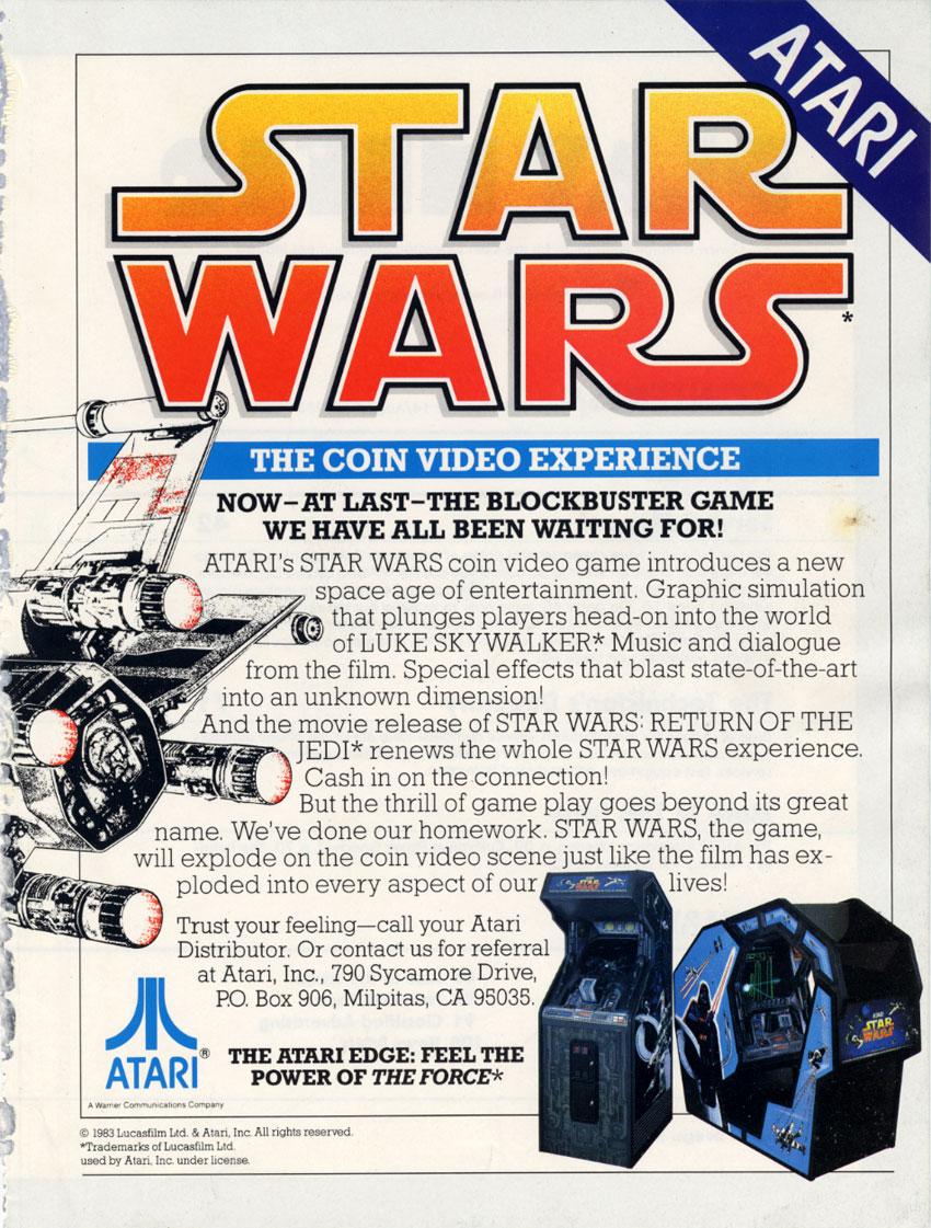 arcade cabinets star wars atari 1983 2 warps to neptune