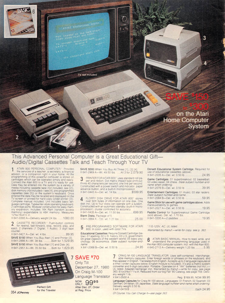 1980 J C  Penney Christmas Catalog: Atari 800 | 2 Warps to