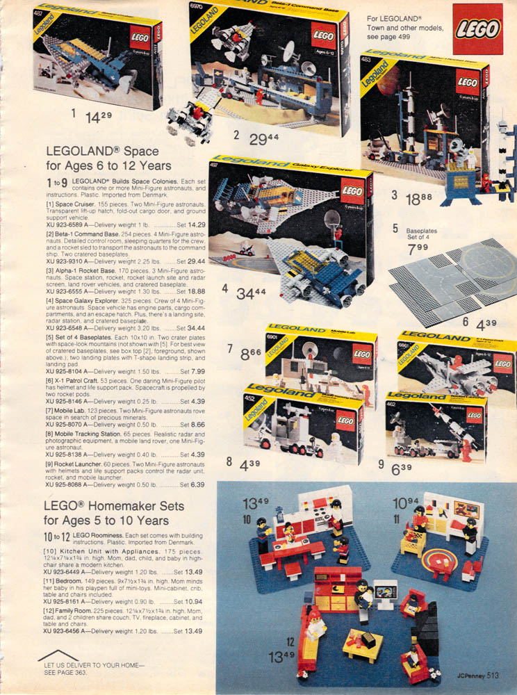 1980 J C  Penney Christmas Catalog: Lego Space and The