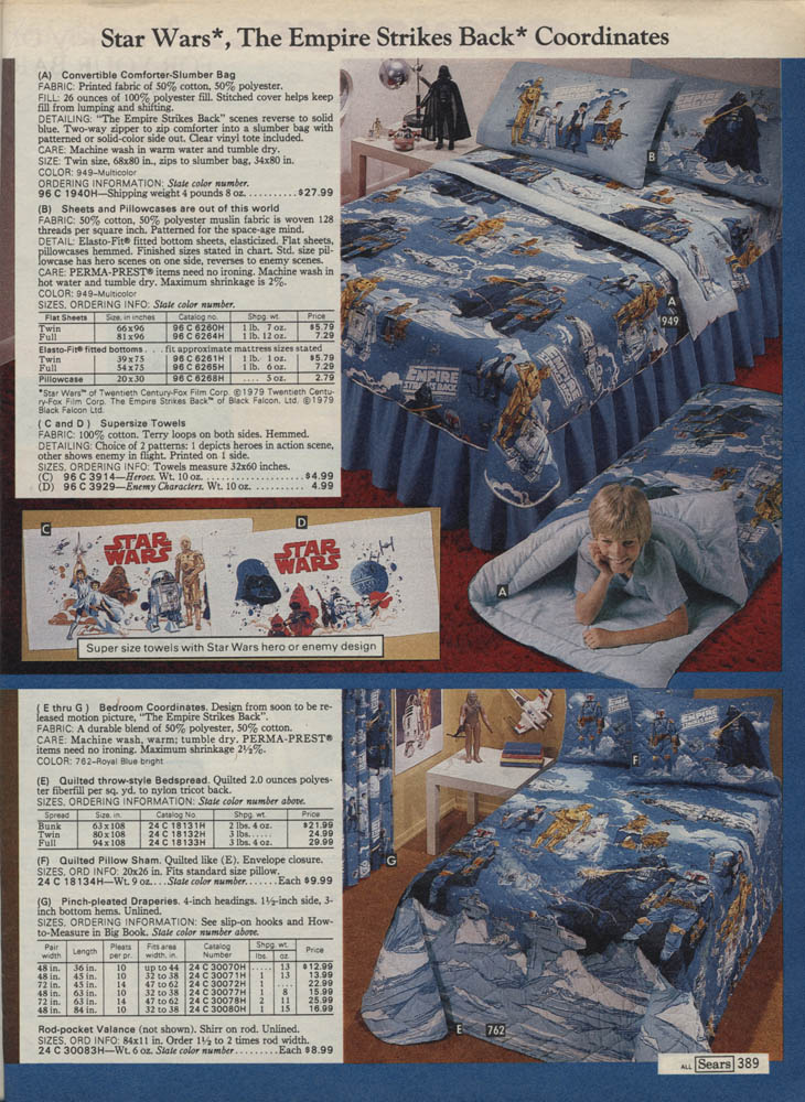 1979 sears christmas catalog: the empire strikes back bedding and