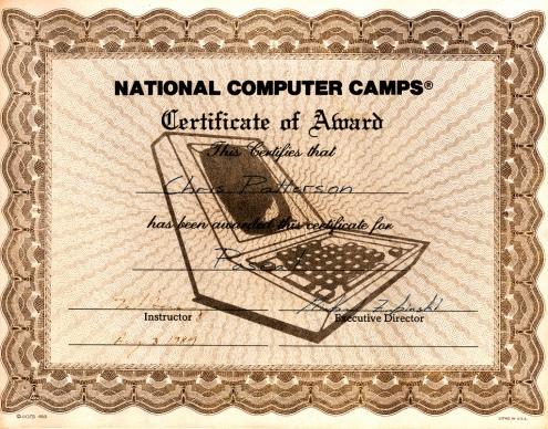 computer camp certificate