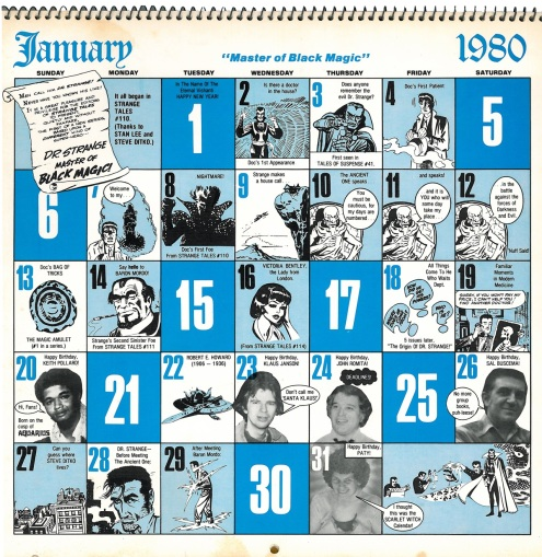 Marvel Calendar 1980 Jan-2