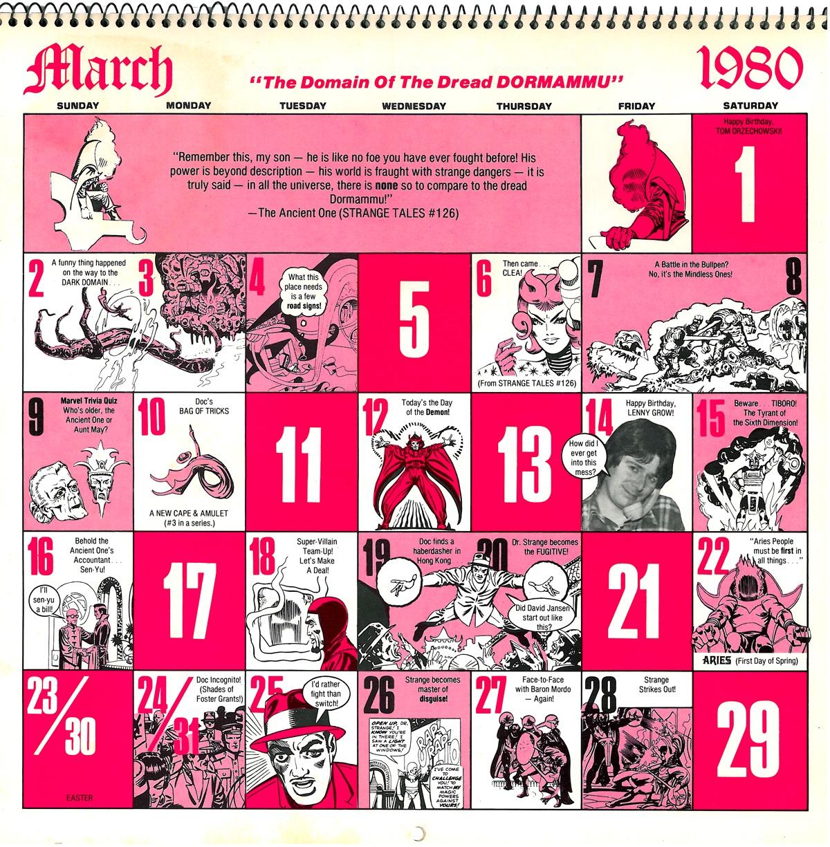 The Occult World Of Doctor Strange Marvel Comics Calendar 1980 2