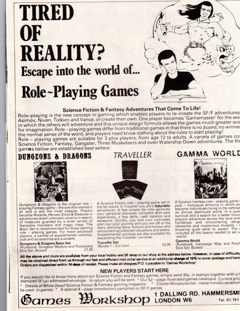 Games Workshop Ad 1981