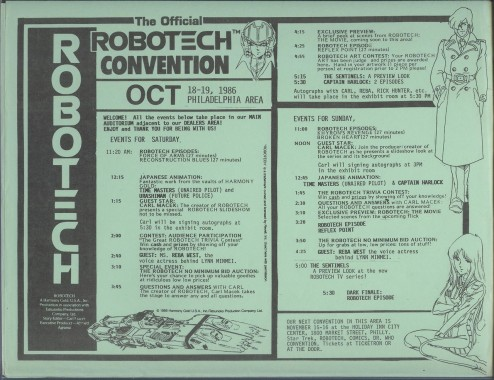 Robotech Convention Flyer 1986
