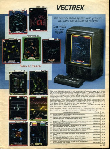 Vectrex Sears Wishbook 1983