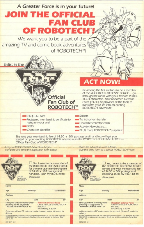 Robotech Fan Club 1985