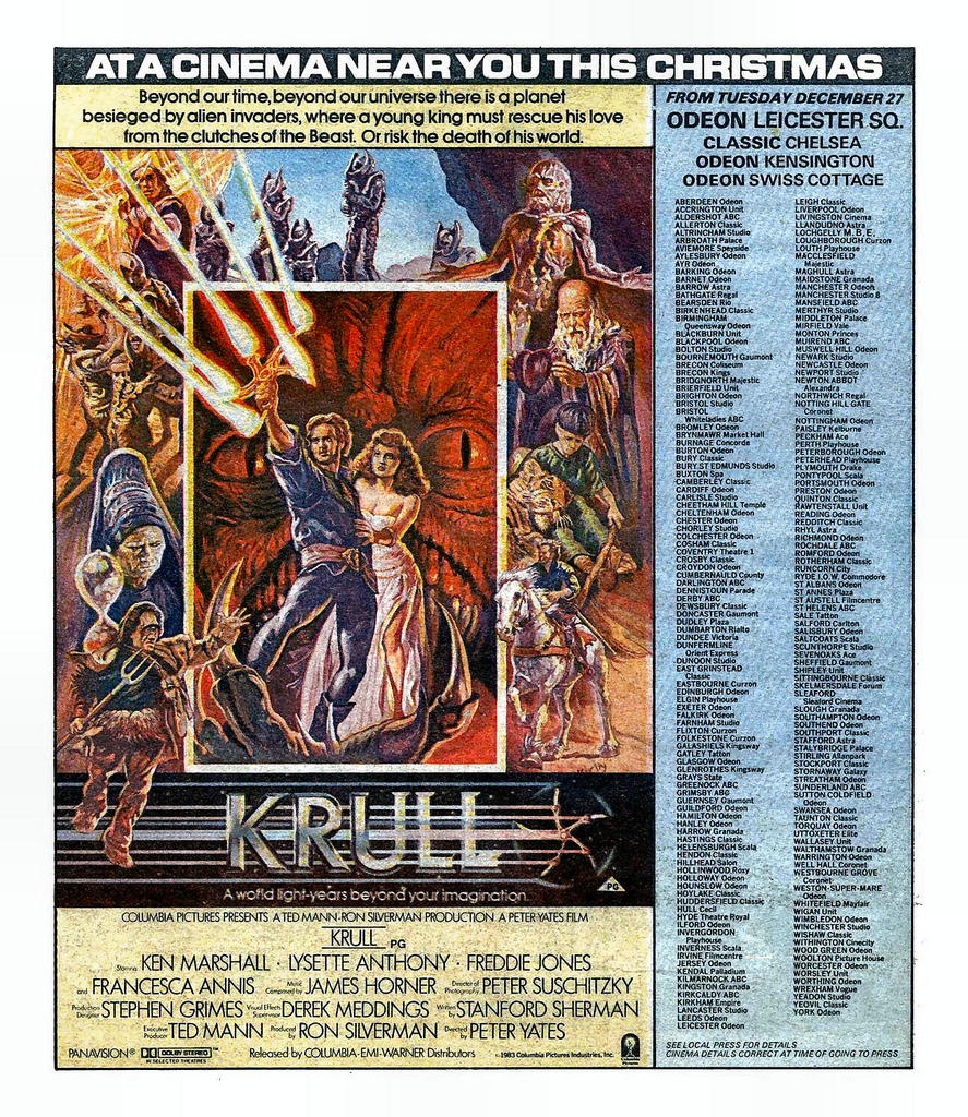 UK Krull Cinema Ads, 1983 | 2 Warps to Neptune