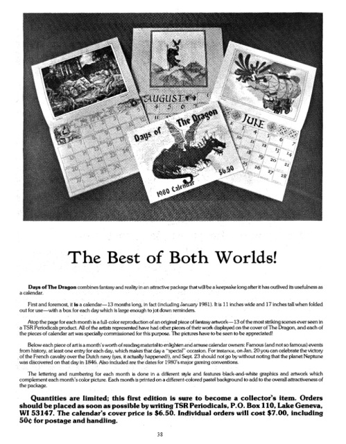 Days Calendar Ad 1980