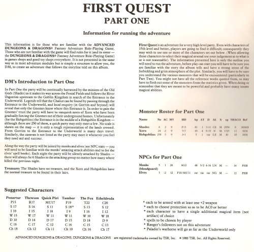 First Quest 1985-6