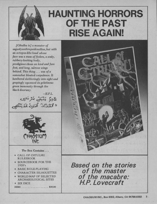 Call of Cthulhu Spring 1982