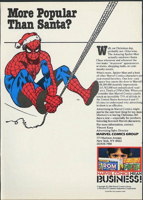 christmas marvel ad 1980