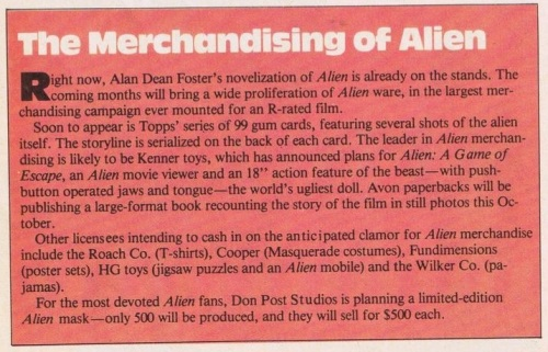 Alien Merch Starlog July 1979
