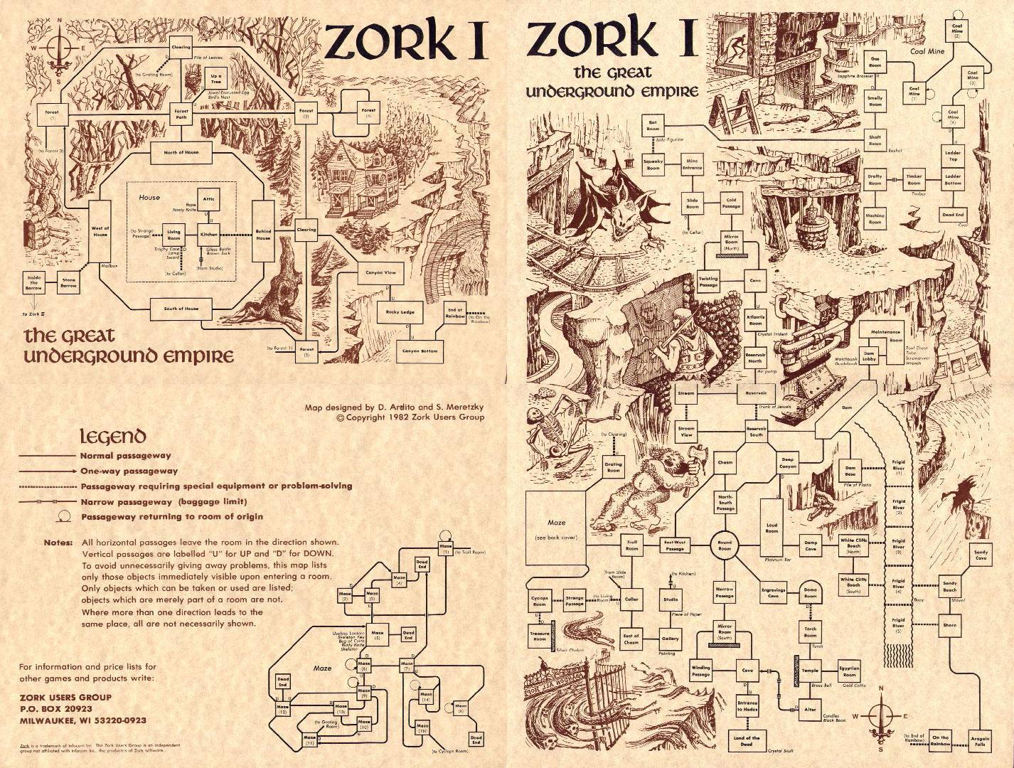 Hand Drawn Zork I `Dungeon Map', 1979 – 1982 | 2 Warps to