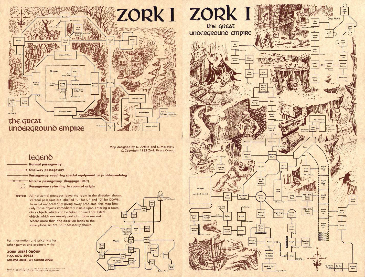 Cluster House Plans Hand Drawn Zork I Dungeon Map 1979 1982 2 Warps To