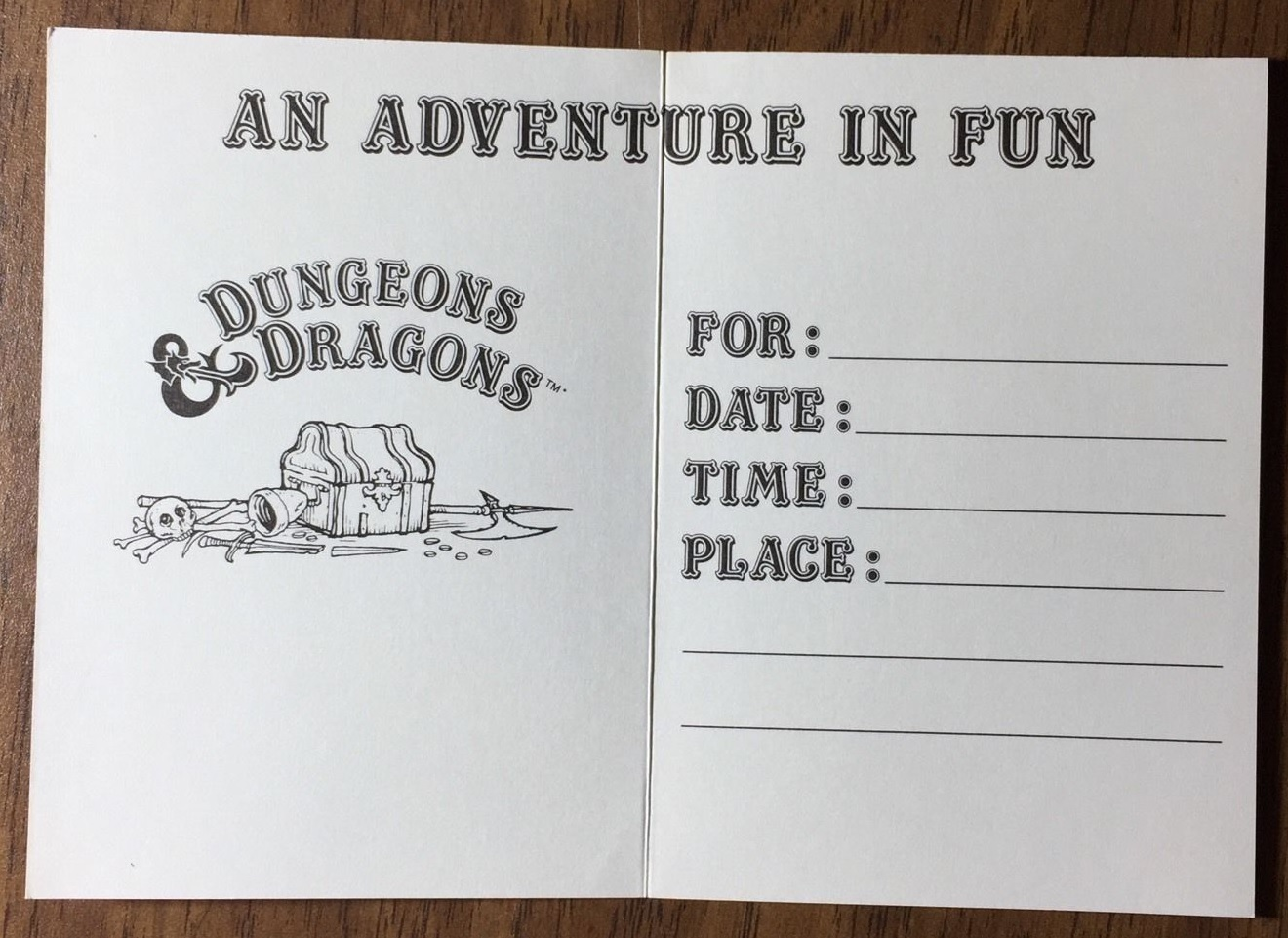 Dungeons Dragons Party Invitations C A Reed 1983 2 Warps To
