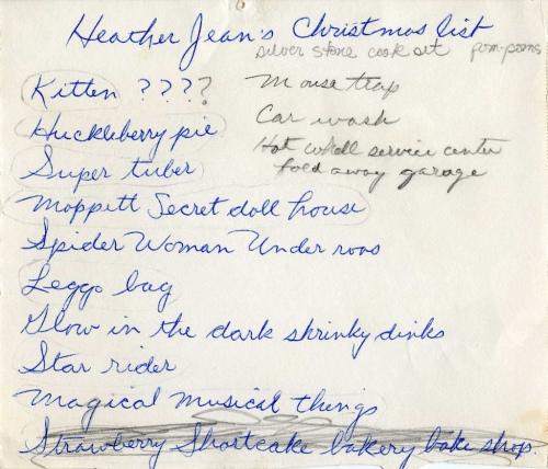 Christmas List 1980